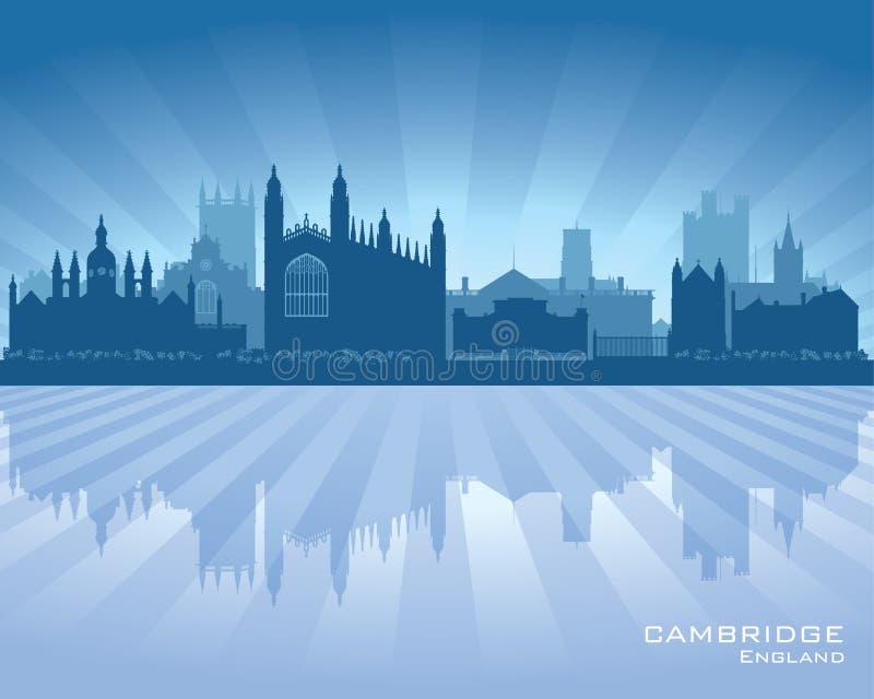 Het silhouet van de de stadshorizon van Cambridge Engeland vector illustratie