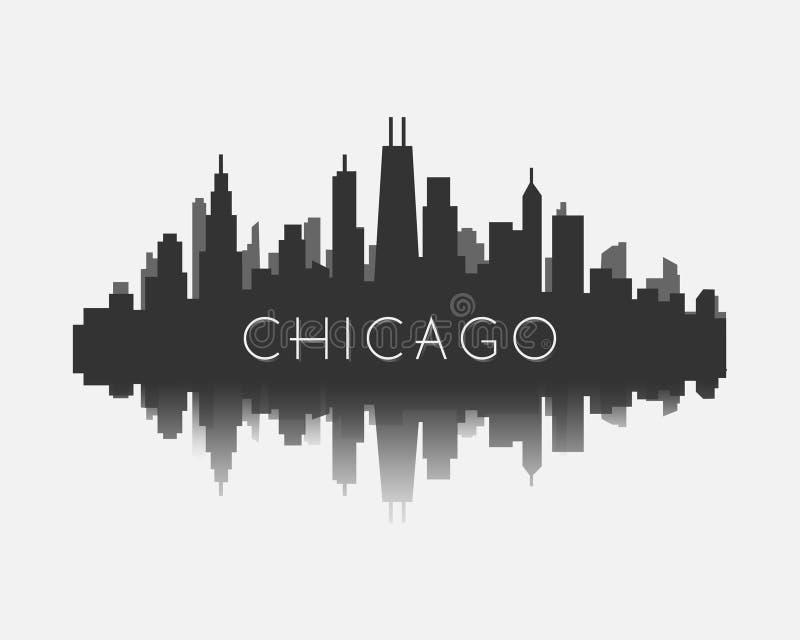 Het silhouet van de de stadshorizon van Chicago met bezinnings vectorillustratie royalty-vrije illustratie