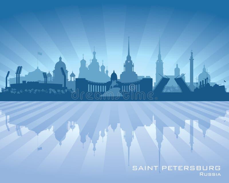 Het silhouet van de de stadshorizon van heilige Petersburg Rusland stock illustratie