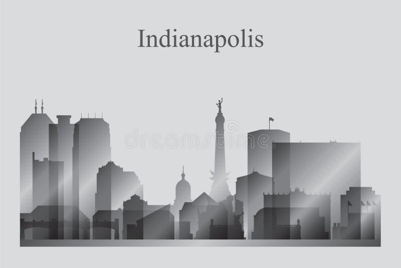 Het silhouet van de de stadshorizon van Indianapolis in grayscale royalty-vrije illustratie