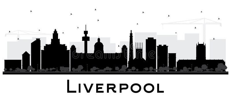 Het Silhouet van de de Stadshorizon van Liverpool met Zwarte Geïsoleerde Gebouwen royalty-vrije illustratie