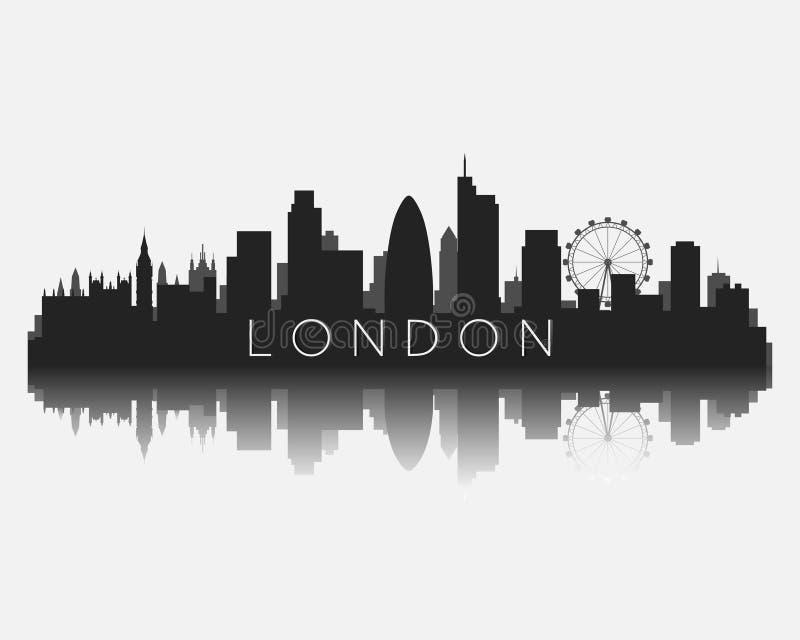 Het silhouet van de de stadshorizon van Londen met bezinnings vectorillustratie royalty-vrije illustratie