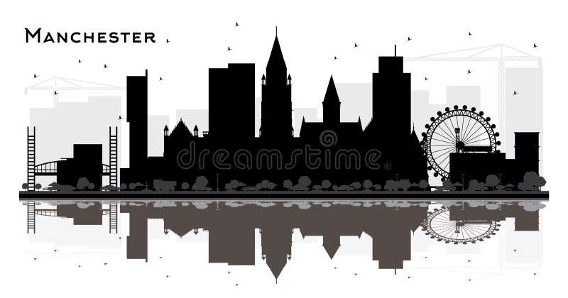 Het Silhouet van de de Stadshorizon van Manchester met Zwarte Geïsoleerde Gebouwen stock illustratie