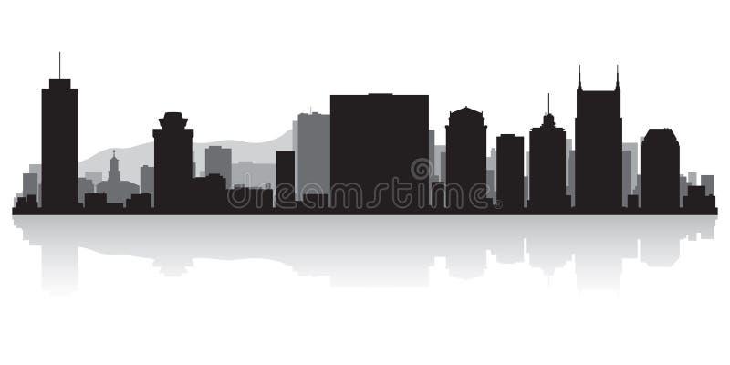 Het silhouet van de de stadshorizon van Nashville Tennessee royalty-vrije illustratie