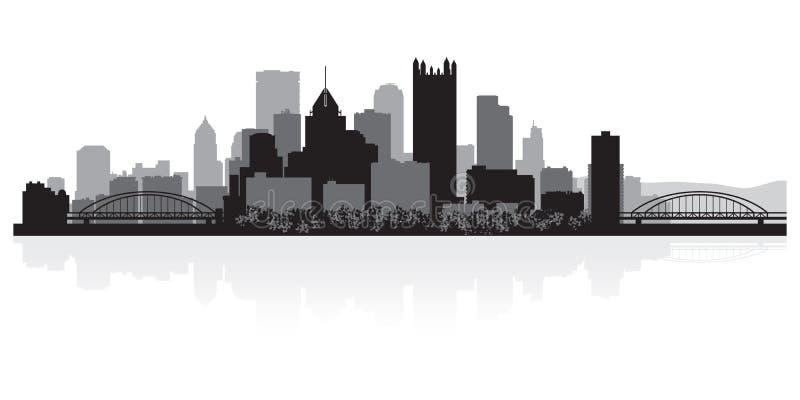 Het silhouet van de de stadshorizon van Pittsburgh Pennsylvania stock illustratie
