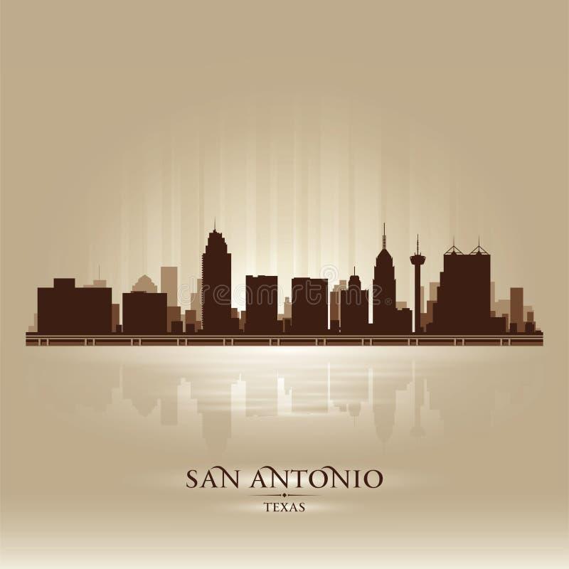 Het silhouet van de de stadshorizon van San Antonio Texas royalty-vrije illustratie