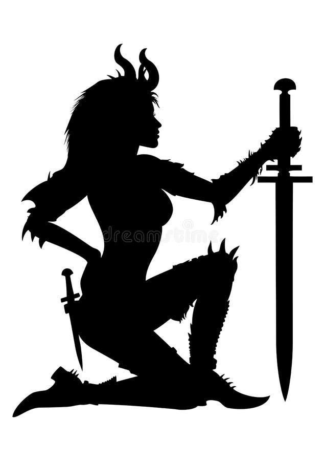 Het silhouet van de strijdersvrouw stock illustratie
