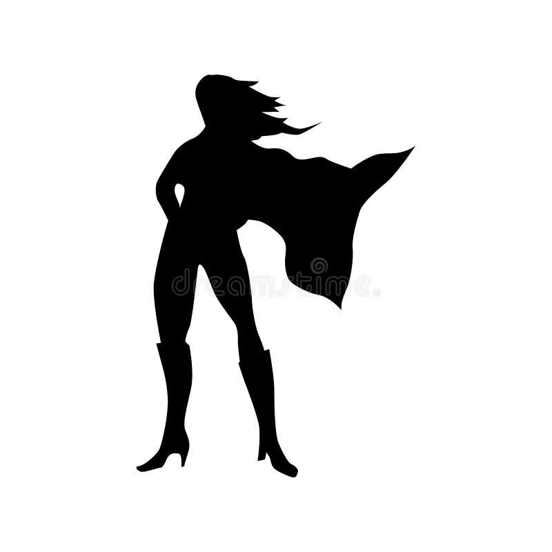 Het silhouet van de Superherovrouw vector illustratie