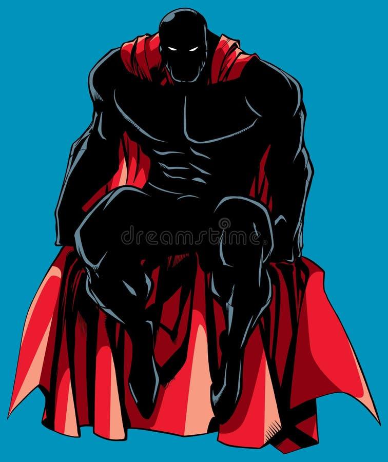 Het Silhouet van de Superherozitting stock illustratie