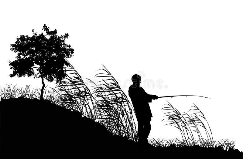 Het silhouet van de visser in riet royalty-vrije illustratie