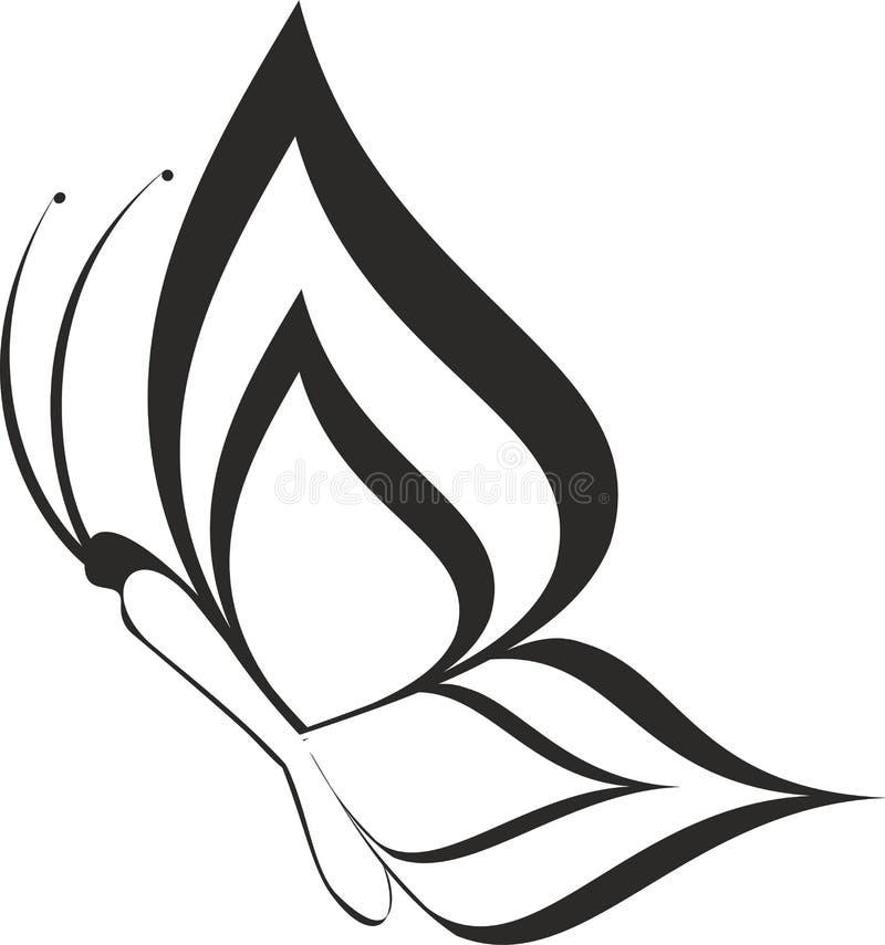 Het silhouet van de vlinder royalty-vrije illustratie