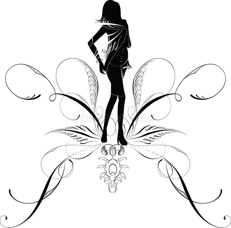 Het silhouet van de vrouw royalty-vrije illustratie