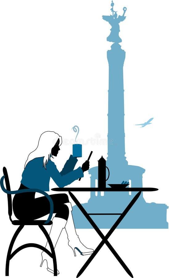 Het silhouet van de vrouw in de koffie van Berlijn royalty-vrije illustratie