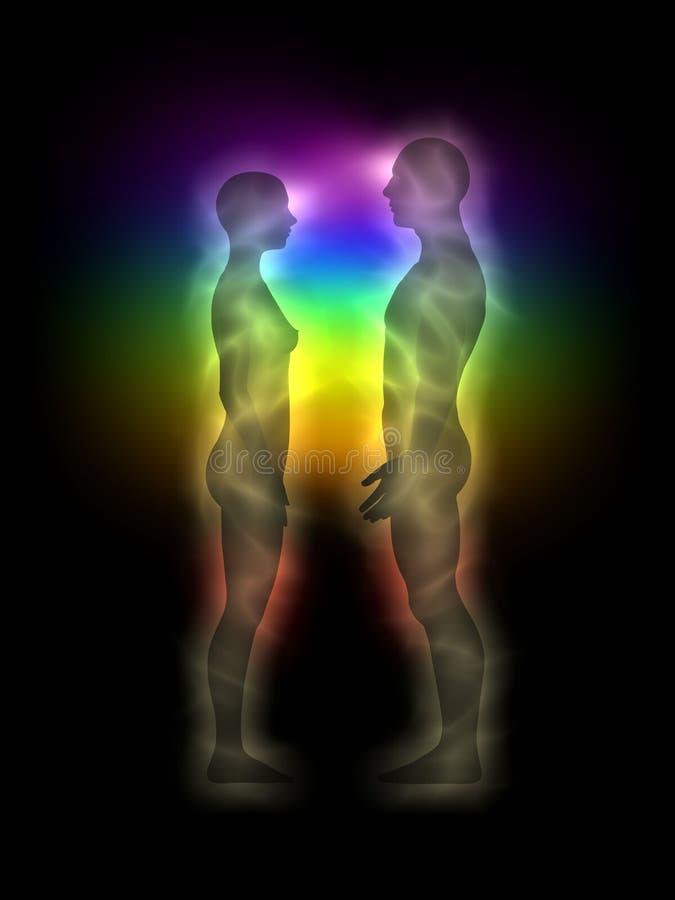 Het silhouet van de vrouw en man met aura, chakras, energ stock illustratie