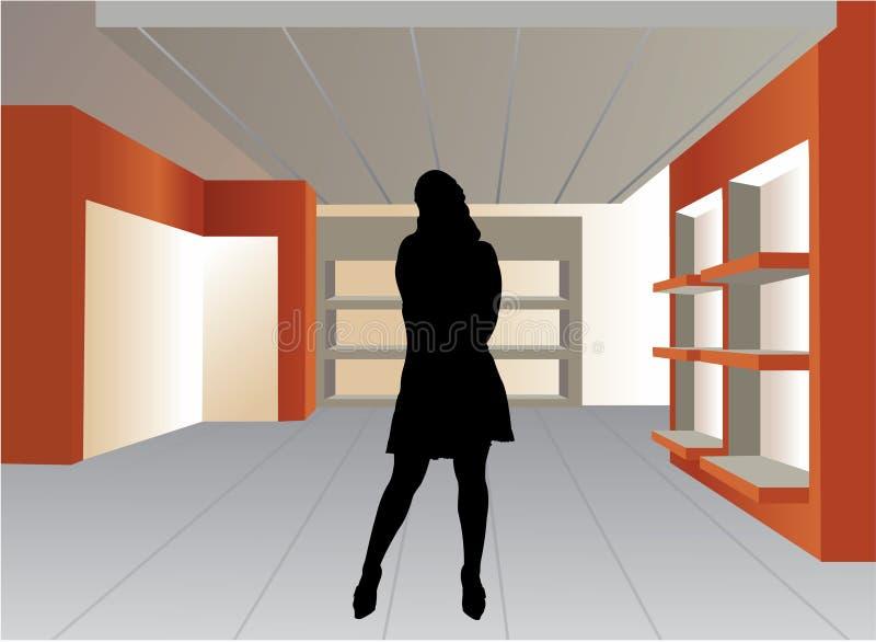 Het silhouet van de vrouw in lege winkelvector royalty-vrije illustratie