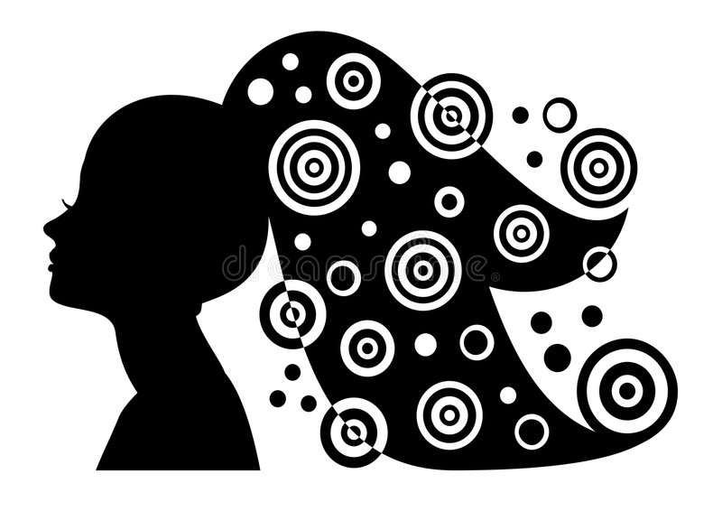 Het silhouet van de vrouw met lange haar en samenvatting eleme royalty-vrije illustratie