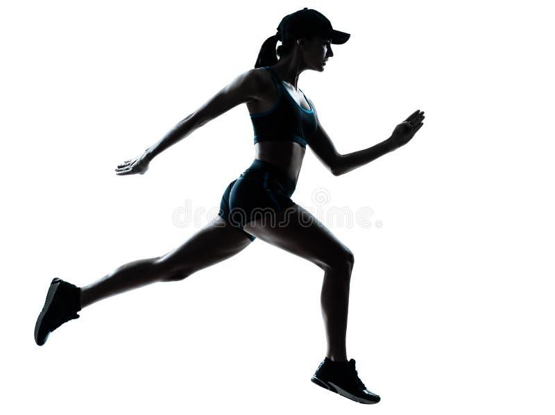 Het silhouet van de vrouwenagent jogger stock foto's