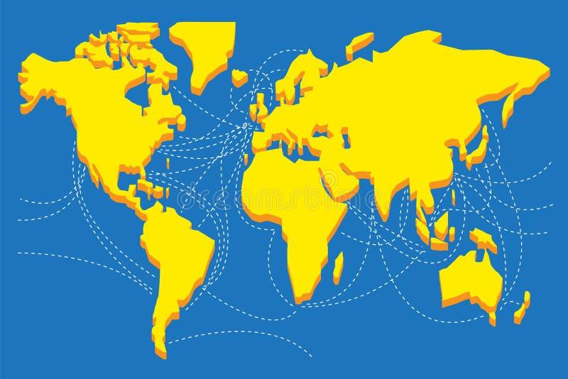 Het silhouet van de wereldkaart met vervoersroutes royalty-vrije illustratie