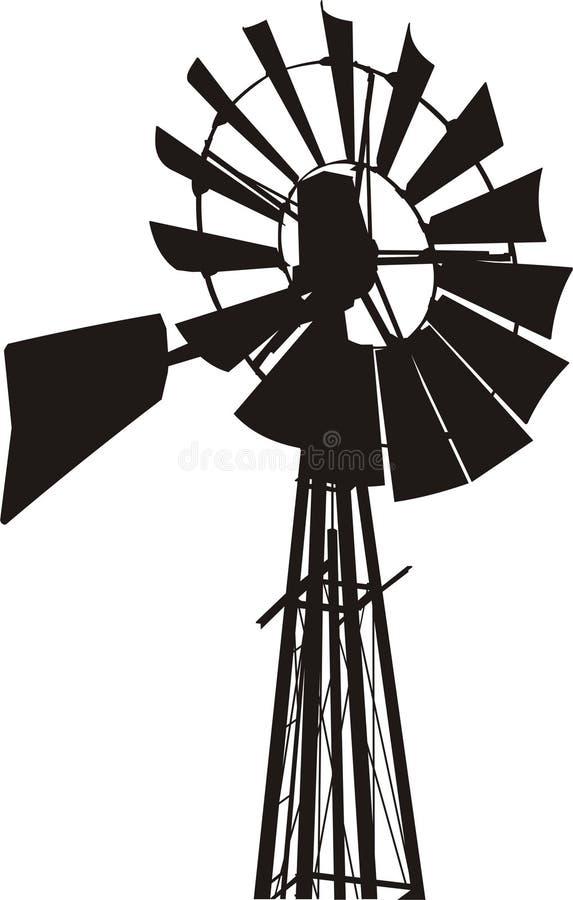 Het Silhouet van de windmolen vector illustratie