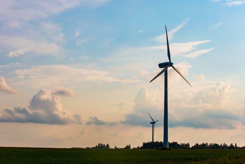 Het silhouet van de windturbine in avond Vernieuwbare energieconcept De ZOMERlandschap stock afbeelding