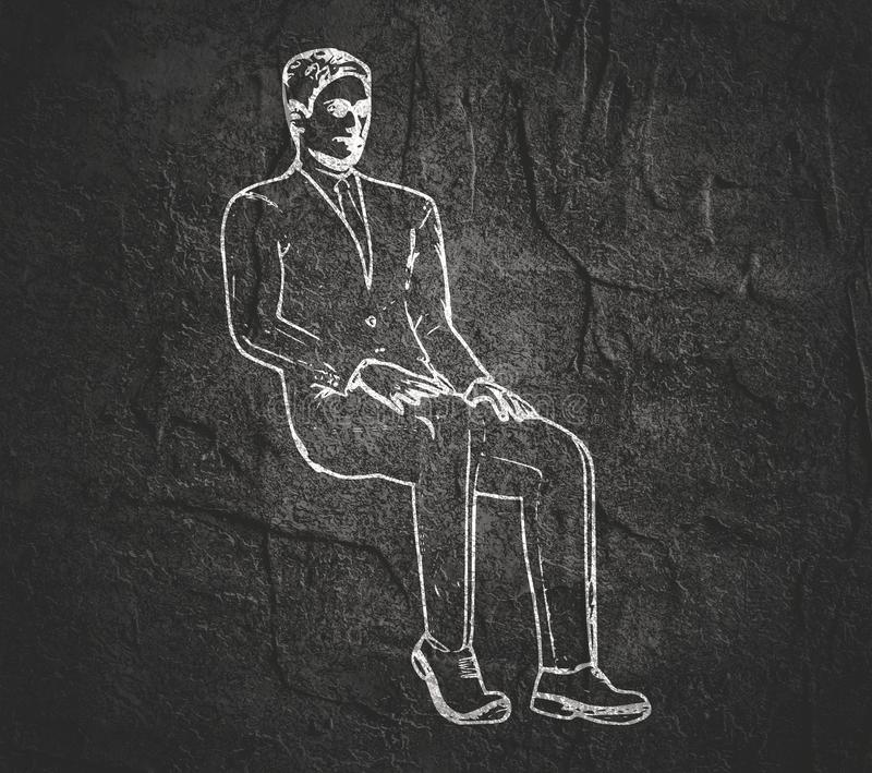 Het silhouet van de zittingsmens royalty-vrije illustratie