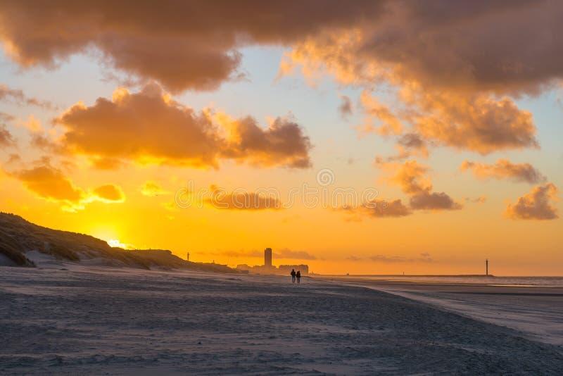 Het Silhouet van de de zomeravond bij Zonsondergang, België royalty-vrije stock fotografie