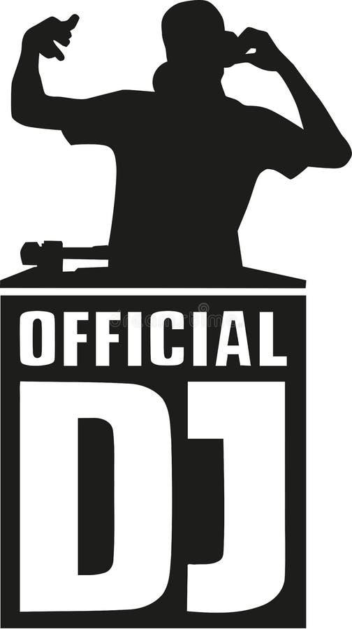 Het silhouet van DJ met officieel DJ stock illustratie
