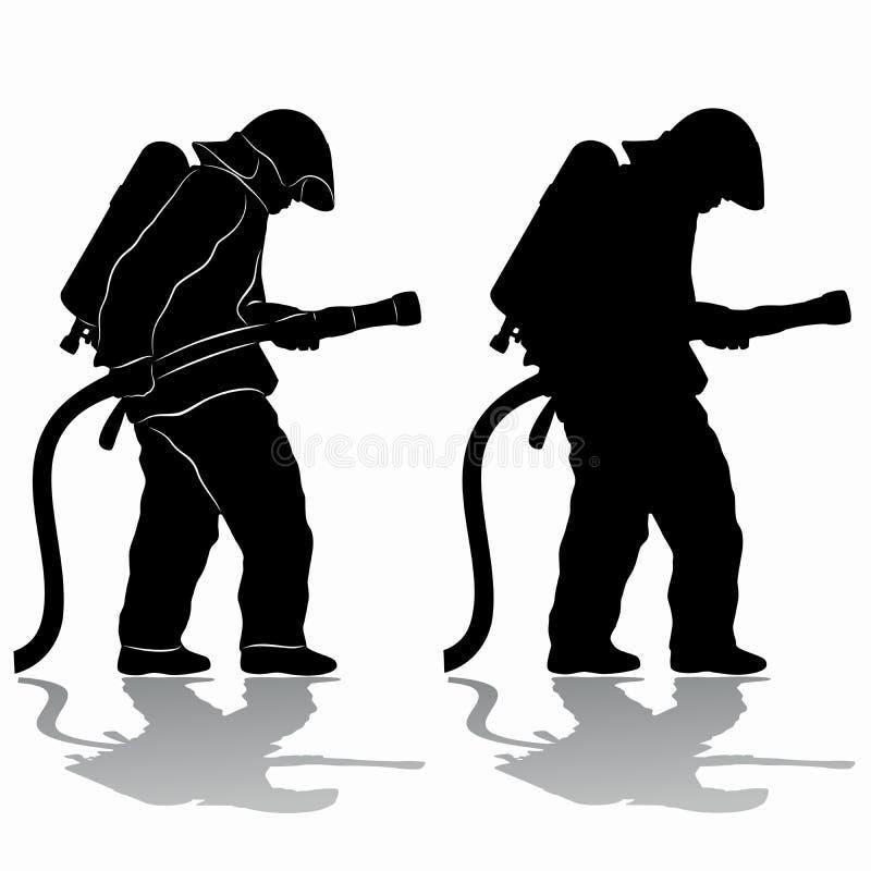 Het silhouet van een brandweerman, vector trekt stock afbeelding