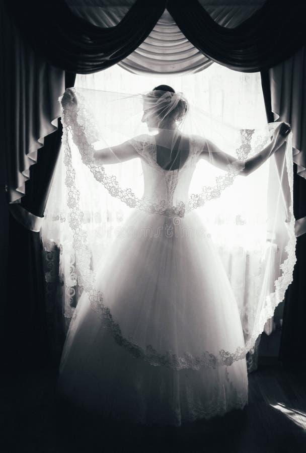 Het silhouet van een bruid bevindt zich bij het venster en houdt een sluier zwart-wit portret van een bruid van de rug royalty-vrije stock afbeelding