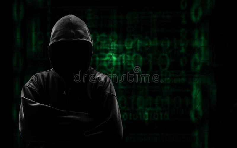 Het silhouet van een hakker gebruikt een bevel royalty-vrije stock foto's