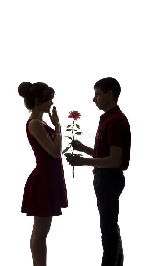 Het silhouet van een jong paar in liefde op wit geïsoleerde achtergrond, man geeft een vrouw een roze bloem, conceptenliefde stock afbeelding