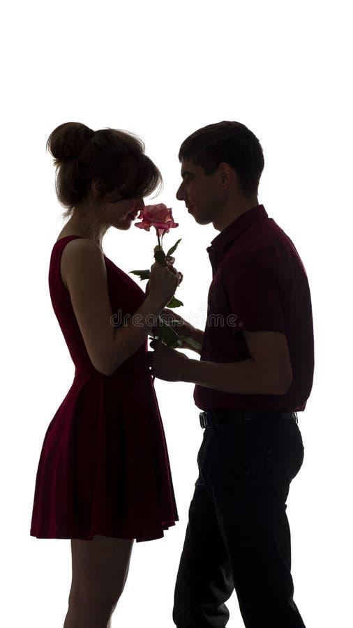 Het silhouet van een jong paar in liefde op wit geïsoleerde achtergrond, man geeft een vrouw een roze bloem, conceptenliefde royalty-vrije stock foto's