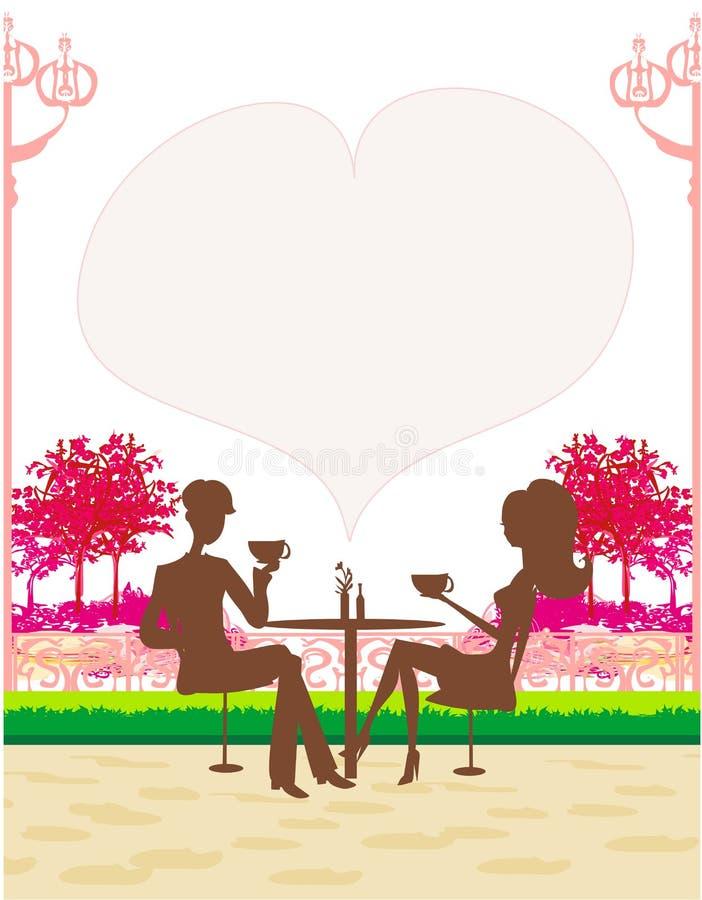 de man en de vrouw drinken koffie stock illustratie