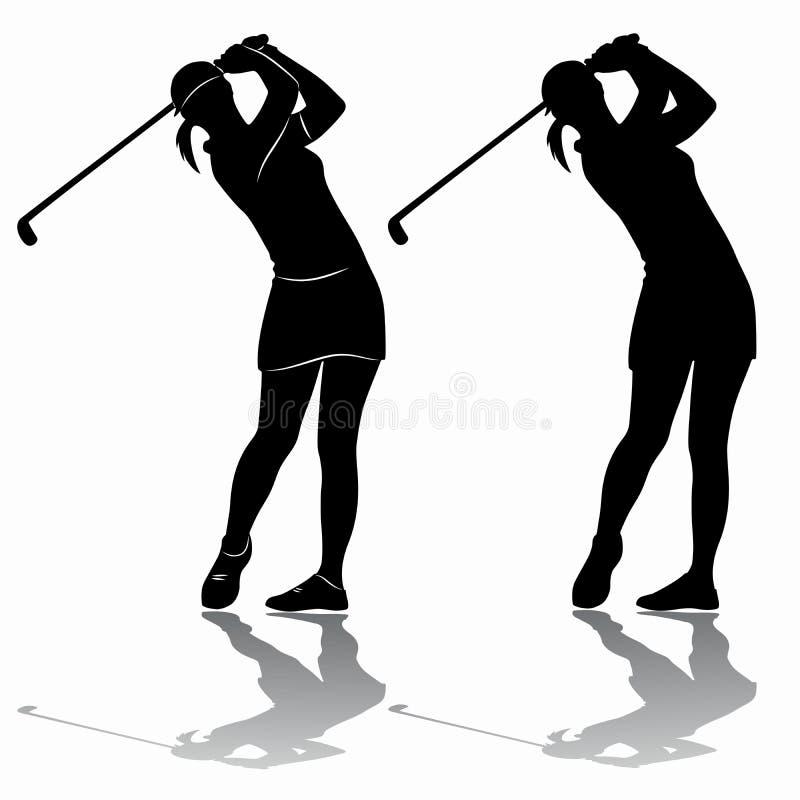 Het silhouet van een vrouwen speelgolf, vector trekt vector illustratie