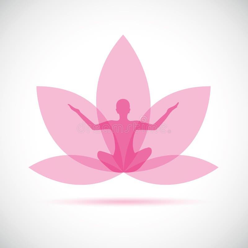 Het silhouet van een vrouwenzitting in yoga stelt voor ontspanning en meditatie binnen een roze leliebloem vector illustratie