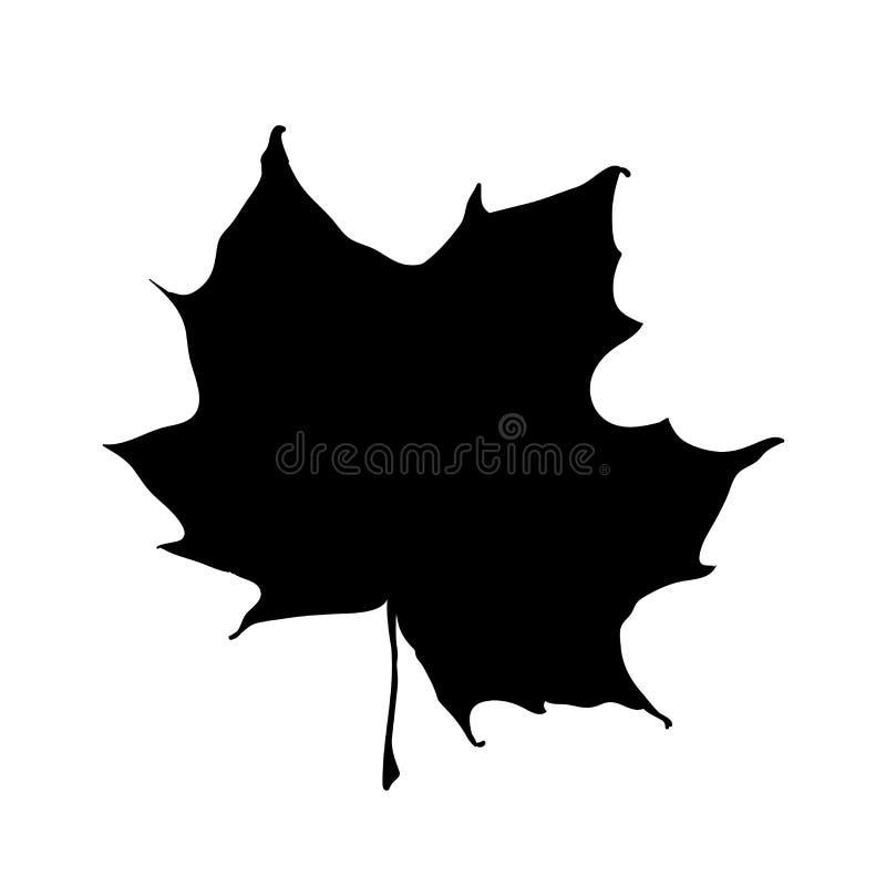 Het silhouet van het esdoornblad op witte achtergrond wordt geïsoleerd die Het vectorhand getrokken blad van de pictogramherfst U royalty-vrije illustratie