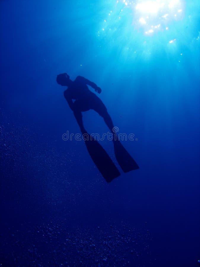 Het silhouet van Freediver royalty-vrije stock foto's