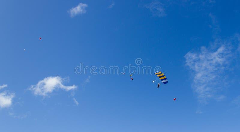 Het silhouet van hemelduikers vliegt terug naar de grond na skydive achter elkaar, byron baai, Queensland, Australië stock foto's