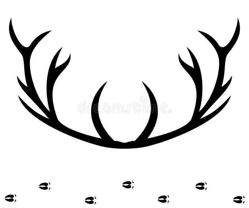 Het silhouet van hertenhoornen royalty-vrije illustratie