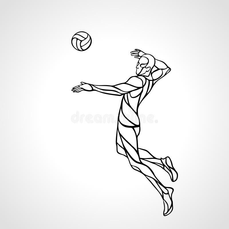 Het silhouet van het de speleroverzicht van de volleyballaanvaller EPS vector im stock illustratie