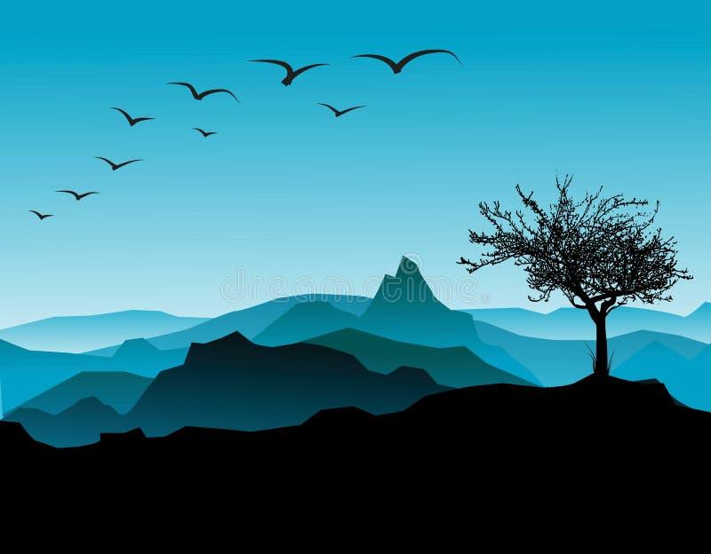 Het silhouet van het landschap vector illustratie
