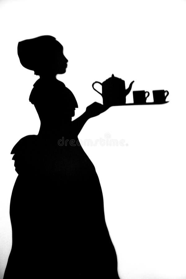 Het silhouet van het meisje stock fotografie