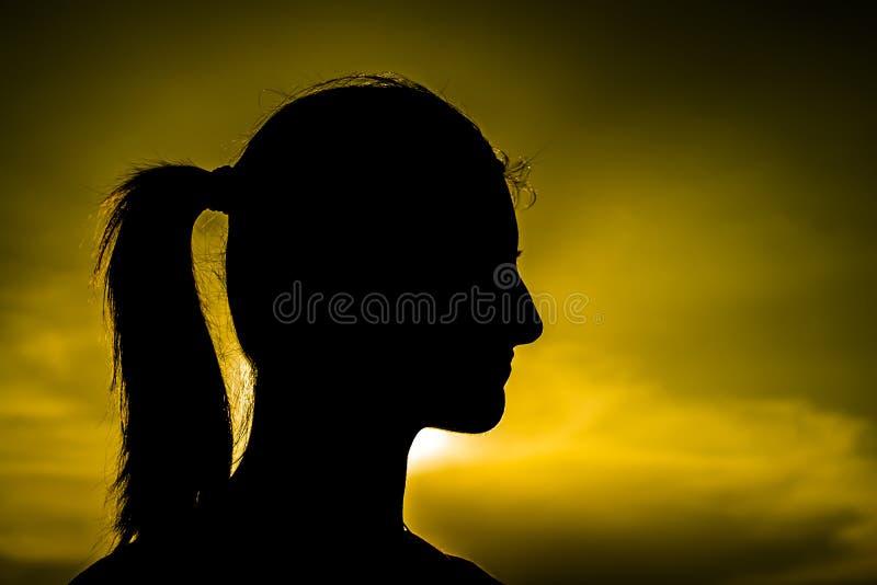 Het Silhouet van het meisje royalty-vrije stock foto
