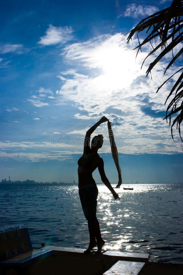 Het silhouet van het meisje bij het overzees royalty-vrije stock afbeelding