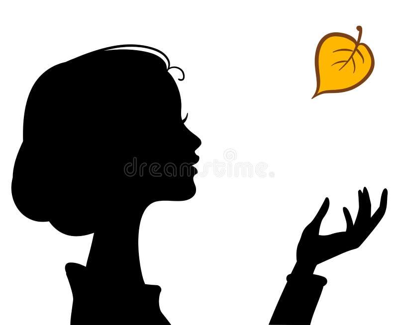 Het Silhouet van het Meisje van de schoonheid met Blad stock illustratie