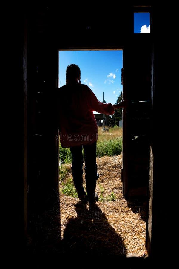Het Silhouet van het Meisje van het landbouwbedrijf royalty-vrije stock foto