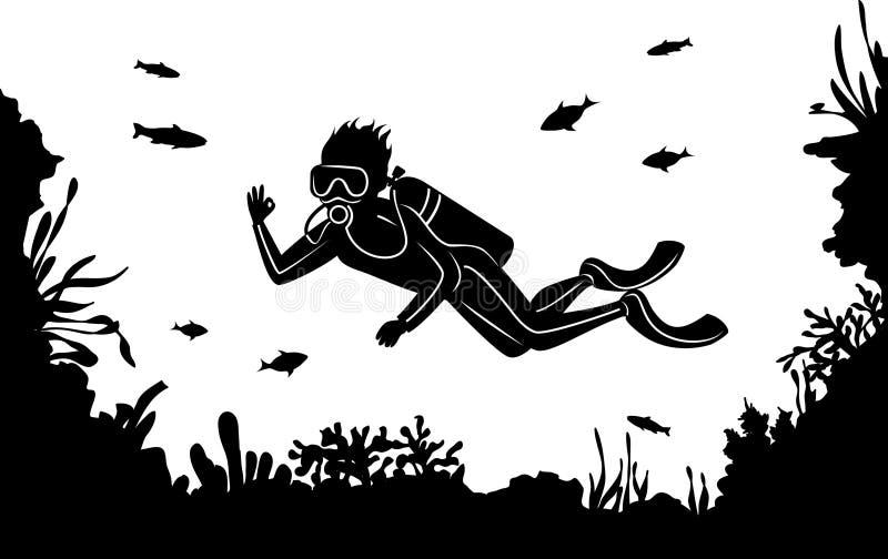 Het silhouet van het mensenvrij duiken royalty-vrije illustratie
