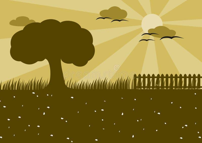 Het Silhouet van het platteland stock foto's