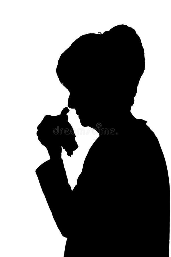 Het silhouet van het profielportret van het droevige bejaarde dame schreeuwen of zieken royalty-vrije illustratie