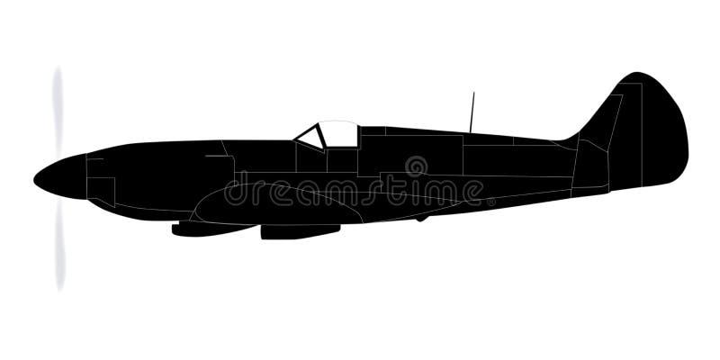 Het Silhouet van het vechtersvliegtuig vector illustratie